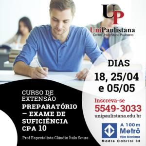 Extensão UniPaulista - Curso Preparatório para a Certificação CPA 10